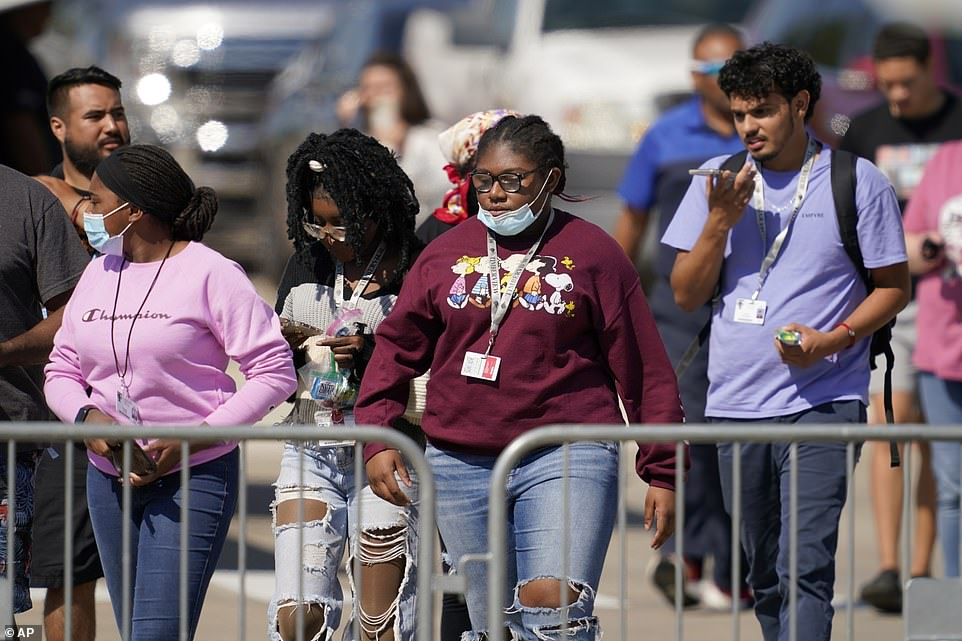 Timberview High School students are seen above leaving theMansfield ISD Center For The Performing Arts